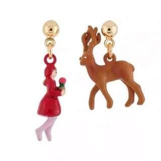 Original !!! N2 by Les Nereides Paris Gerda and reindeer asymmetrical earrings