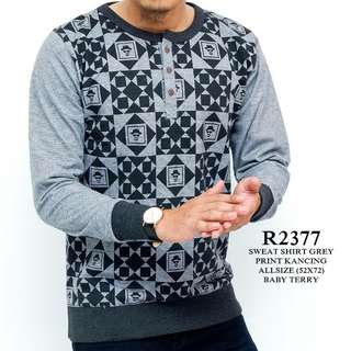 Sweat shirt grey print kancing