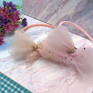 🚚 氣質網紗小皇冠髮箍 2色(粉/橘) 特價$300/個🎀🎀韓貨 *大人小孩都可以戴 *4C001518