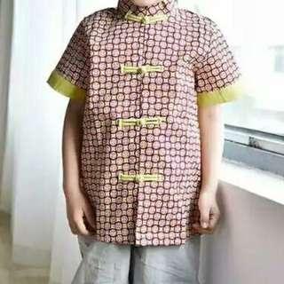 CNY Boy's Mandarin Top - Coin Impression (Sizes 4T,/6/8/9)