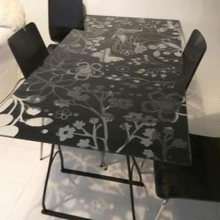 IKEA Glass Top Table And 4 Chairs