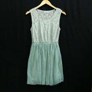 Mini Dress Dusty Green Lace