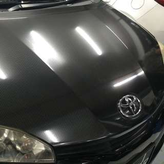 Toyota wish bonnet 6D Carbon fiber wrap!