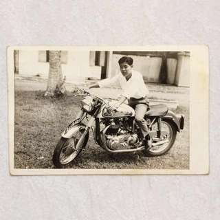 Vintage Old Photo - Old black & White Photograph showing a man on Motorcycle (14 by 9 cm)