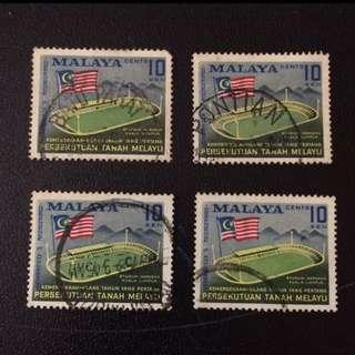 Stamp - Malaya 1958 - Stadium (price per piece $0.5)