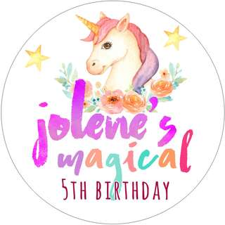 Unicorn Birthday Label /  Tag / Sticker / Cupcake Toppers