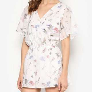 SOMETHING BORROWED Floral Print Romper