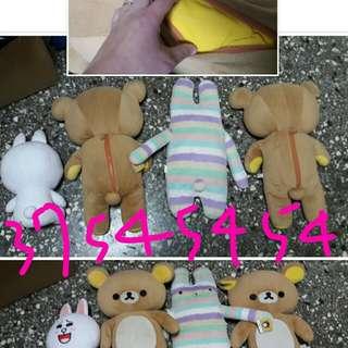 🚚 二手中型娃娃大概都30到55公分啦啦熊裡面都有附送小棉被