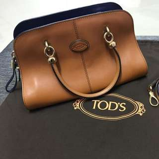 Authentic Tod's Brown Sella Baulletto Two Tone Leather Satchel