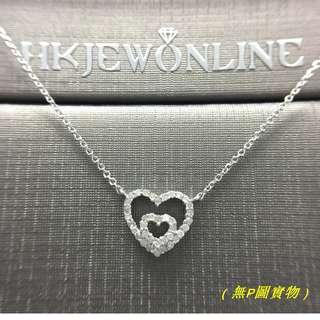 ❤14K白金鑽石心形頸鍊