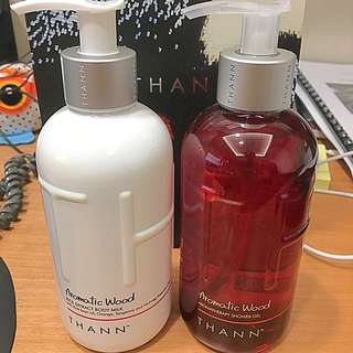 Thann Aromatic Wood Shower Gel and Body Milk
