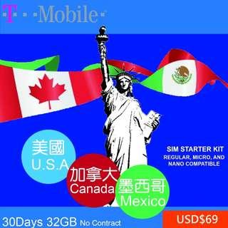 美國加拿大墨西哥30日上網卡