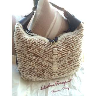 SALVATORE FERRAGAMO leather + shearling fur woven hobo bag  *Made in Italy