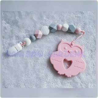 Handmade Silicone beads Pacifier Clip + Pastel Pink Owl teether combo