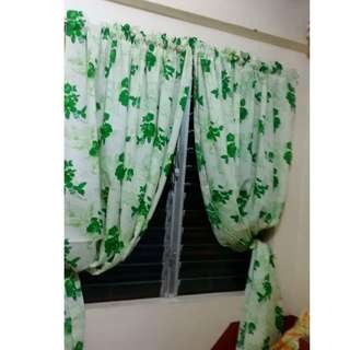 2 pieces Flowery Curtain