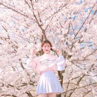 🔥[INSTOCK] Korean Ulzzang Oversize Cherry Pink Pullover Sweater