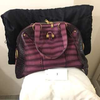 Yves Saint Laurent Purple Croc Embossed Medium Muse Bag