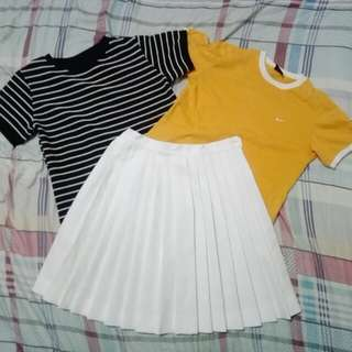 Stripes shirt and Pleated Skirt