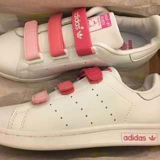現貨ㄧ雙Adidas originals stan smith魔鬼氈漸層粉史密斯透氣潮流板鞋休閒鞋運動鞋情侶鞋懶人鞋親子鞋