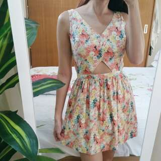 JUST G FLORAL CUT-OUT DRESS