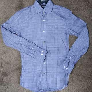 Brooksfield blue slim fit button up shirt
