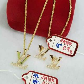 18K necklace and pendant