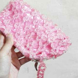 Pink Beaded Sling Bag