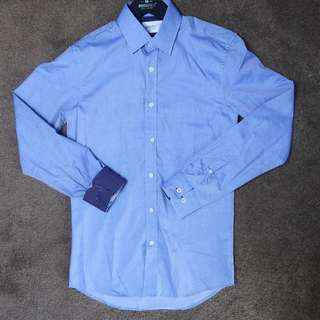 Brooksfield chambray with white spot business shirt