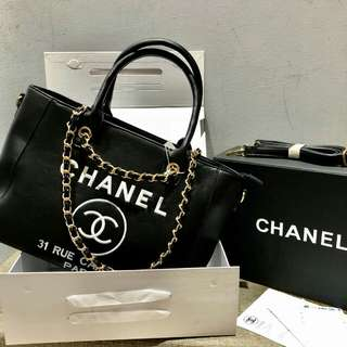 Chanel Deauville Black With Gold Hardware