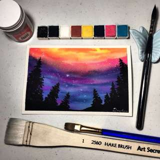 Watercolor Colorful Galaxy Forest