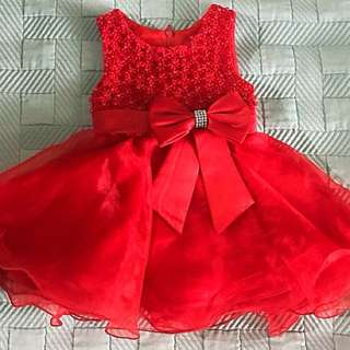 Red infant gown tutu 0-3mos