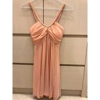 全新*粉色細肩氣質洋裝