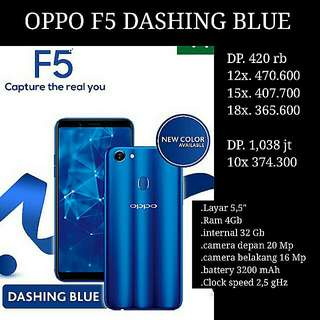 kredit Oppo F5 Dashing Blue Gratis Admin Tanpa CC