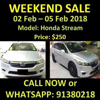 WEEKEND SALE HONDA STREAM 2-5 Feb