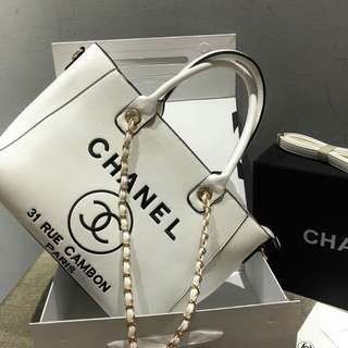 Chanel Deauville White With Gold Hardware