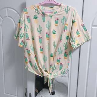Cactus print tie-up top