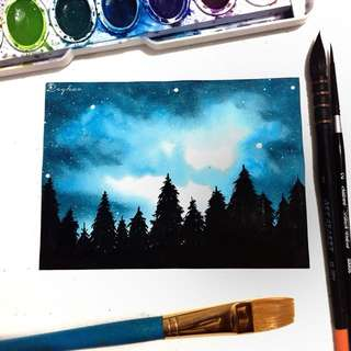 Watercolor Galaxy Forest Painting