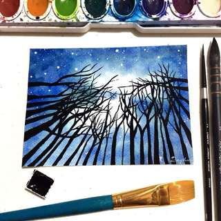 Watercolor Starry Night Sky Painting