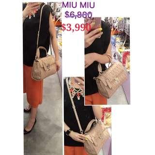 98% New MIU MIU RN1136 Matelasse 粉紅色 鄒摺 手提袋 肩背袋 手袋 Light Pink Leather Handbag