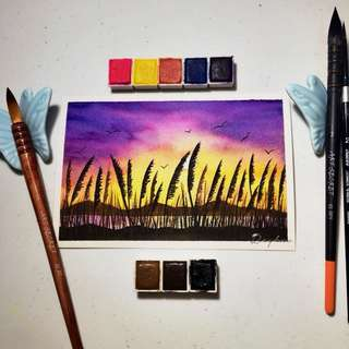 Watercolor Sunset Painting