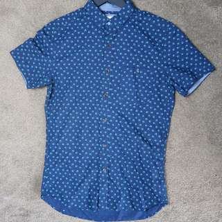 Brooksfield leaf print casual shirt