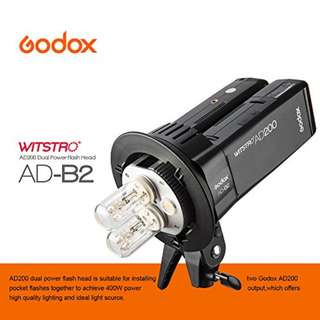 Godox AD-B2 Dual Power Twin Head Bowens Mount to Install 2 Godox AD200 Pocket Flash25