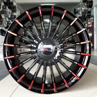 Velg mobil B7 1042 R16x7 H5/100-114,3 black red