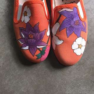 Hand drawn slip on canvas shoes