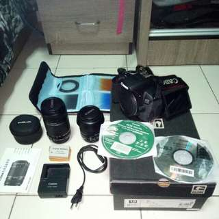 650D canon dslr + lense + 2x batt + manual CD
