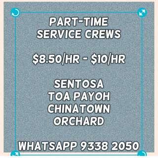 Part-Time Service Crews ($8.50/hr - $10/hr)