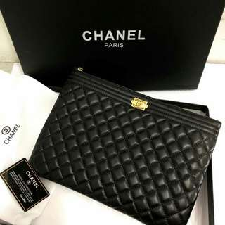 Chanel O Case Lambskin Leather Black
