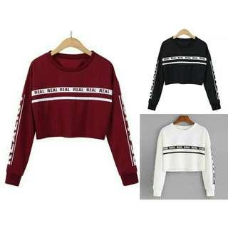 Realis Sweater Crop (Maroon / Putih / Hitam)