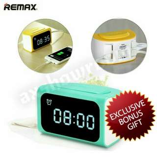 Remax 4-USB Ports 3.1A Digital Alarm Clock Charger For All Mobile Devices Include Samsung Huawei iPhone Xiaomi Sony HTC LG Motorola Asus Oppo Etc