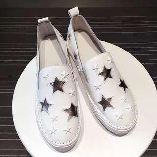 「新品推薦」韓國時尚百搭真皮星星撞色樂福鞋